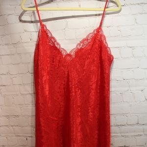 Victoria Secret Lace Nightgown slip sz Med euc RED